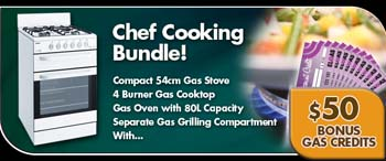 Chef CFG503WA 54cm Gas Stove Bundle Sale