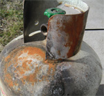 LPG gas bottle condemned because of fire damage